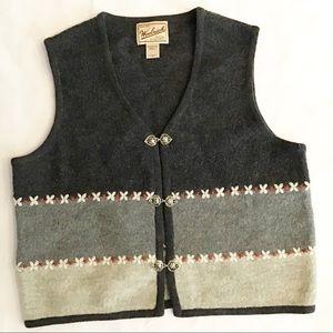 Woolrich 100% Wool Black Gray Red Sweater Vest